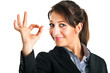 Businesswoman making ok sign