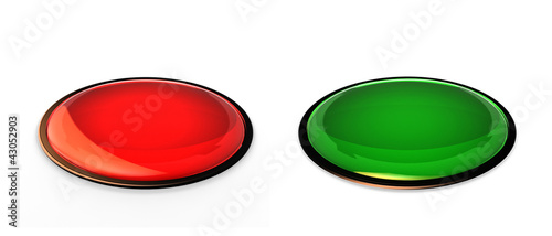 red and green plastic buttons