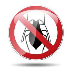 Señal prohibido cucarachas
