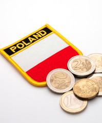 polish flag and euros