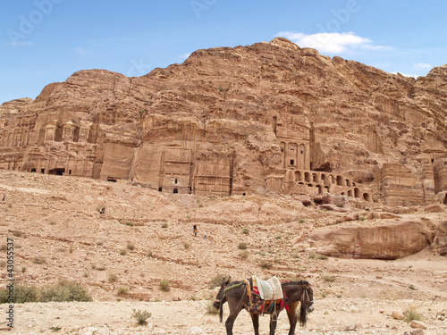 Tombs in Petra, one of the seven wonders of the world, Jordan.