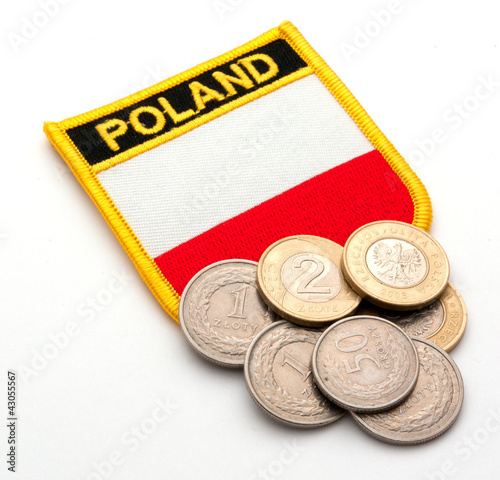 polish flag and coins