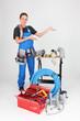 woman plumber showing