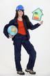 female heating engineer holding globe