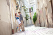 Sensual couple on a street of Montmartre in Paris