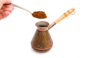Coffee spoon and cezve