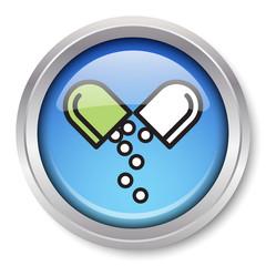Vector Medication Icon Glossy Metallic Button. EPS10.