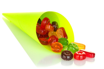 Tasty colorful candies in bright bag