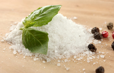 salt and pepper with fresh basil on wooden table