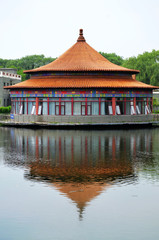 Ancient Chinese Architecture and lake