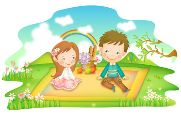 Girl and boy sitting on picnic blanket in park