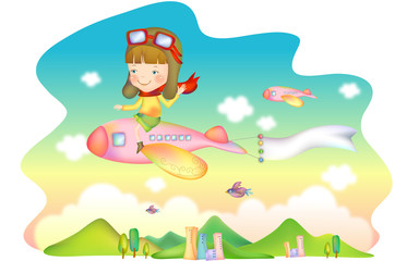 Girl flying airplane