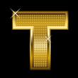 Golden font type letter T