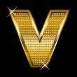 Golden font type letter V
