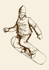 Sketch illustration of a snowboarder