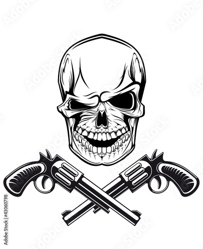 Smiling skull with revolvers