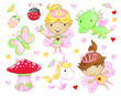 Cute Fairy Princess Flowers Bug and Animal Vector Set