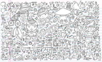 Doodle Sketch Notebook Vector Elements Set