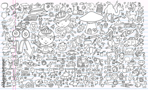 Doodle Sketch Notebook Vector Elements Set