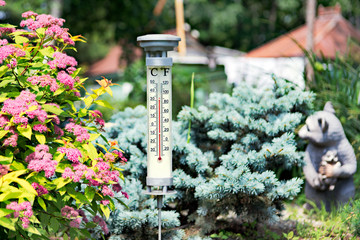 Modern stylish outdoor thermometer in the garden