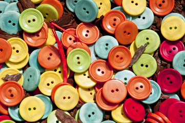 buttons on the wood chips