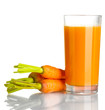 glass of carrot juice and fresh carrots isolated on white