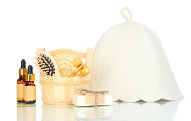 Sauna hat and bathroom set isolated on white