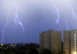 lightning in the sky in the city weather anomaly disaster
