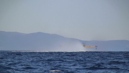 Yellow airplane rises up from the sea