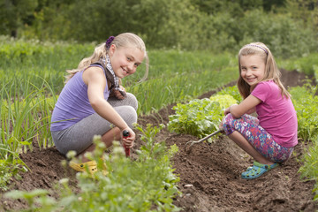 Sisters in garden