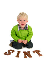 Dutch child with chocolate letters