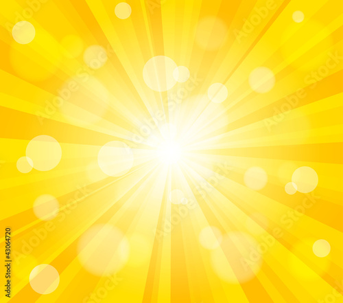 Bright vector sun effect background. Dynamic bokeh effect
