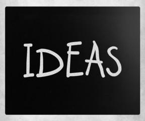 """""""Ideas"""" handwritten with white chalk on a blackboard"""