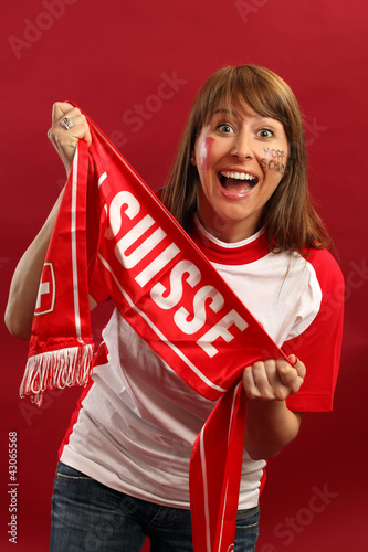 Excited female sports fan
