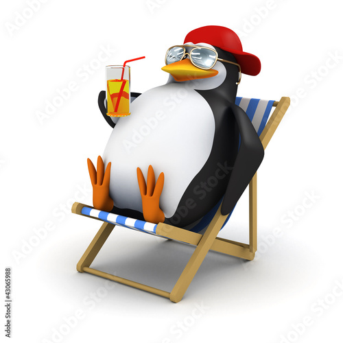 3d Penguin in baseball cap drinks sitting down