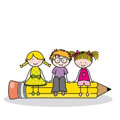 Tarjeta niños sentado en un lápiz.