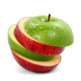 Fototapety Apfelscheiben grün rot