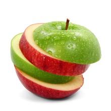 Verde manzana roja rodajas