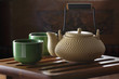 Tea ceremony: tea pot and tea cups