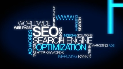 SEO Search Engine Optimization animation video blue word cloud