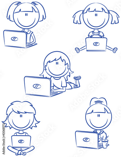 Cute cheerful girls with laptops