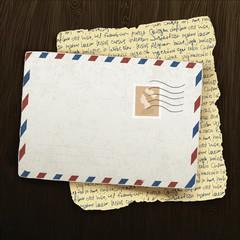 Vintage envelope and letter on wooden background. Vector illustr