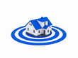 illustration of a house in the center of a blue target