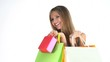 happy woman makes shopping in sale period