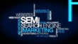 SEM Search Engine Marketing animation video blue word cloud