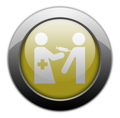 "Yellow Metallic Orb Button ""Immunizations"""
