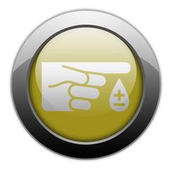 """Yellow Metallic Orb Button """"Diabetes"""""""