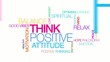 Think positive attitude colored word tag cloud animation