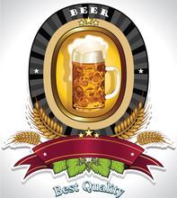 Cerveza óvalo logotipo negro