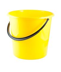 Yellow plastic bucket